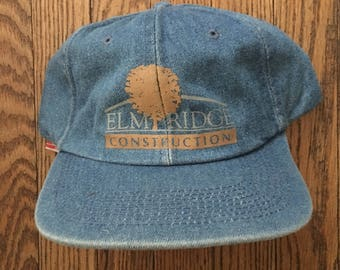 Vintage Elm Ridge Construction Denim Strapback Hat Baseball Cap