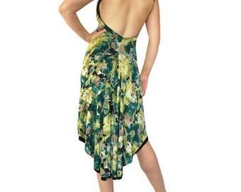 Lime Teal Watercolor Rhinestone; Reversible Tango Dress; Fishtail Tango Dress; Milonga Dress