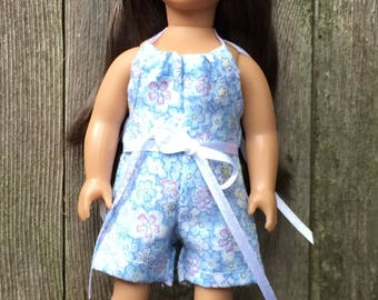 6 inch mini doll clothes: blue flowered halter romper