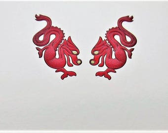 """CARTIER STATIONERY ~ """"Red Dragons"""" with 24kt Detail"""