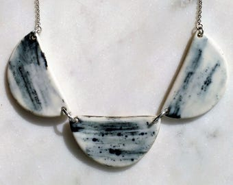 Europa Collar Necklace - Porcelain and sterling silver
