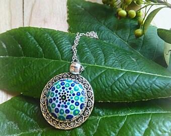 Mandala pendant blue and green