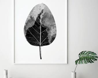 Botanical Art, Botanical Print, Leaf, Leaves, Black White Art, Minimalist Art, Minimalist Poster, Scandinavian Print, Downloadable Prints