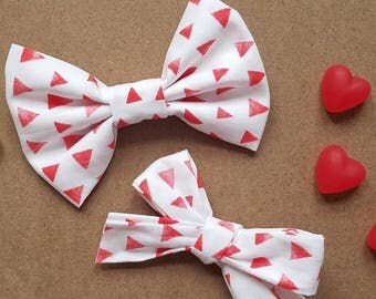 Valentine Sibling Bow Set - Girls Hair Bow - Boys Bow Tie - Baby Bows - Toddler Bows - Sibling Bows - Headband - Hair Clip - Clip-on Bow Tie