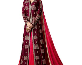 Indian Designer Magenta Colored slub Georgette Lehenga Salwar Suit Anarkali heavy embroidered Suit Dress