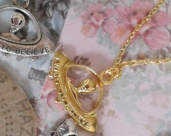 ufo necklace alien i want to believe in gold silver with chain or cord necklaces