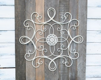 large rustic wall hanging | rustic wall decor | shabby chic decor | vintage gray, brown wood, antique white metal scroll accent