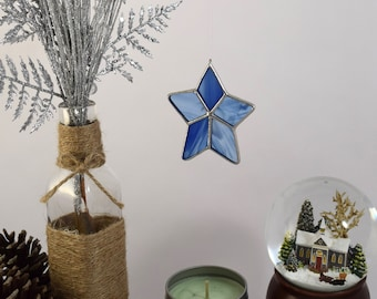 Star Ornament, Gift for Mom, Glass Star, Star Sun Catcher, Glass Star Decoration Country Star Glass Keepsake Ornament Made In USA