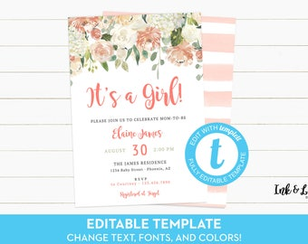 It's a Girl Baby Shower Invitation Template - Templett Baby Shower - Girl Shower Invitation - Watercolor Baby Shower Invitation - Digital