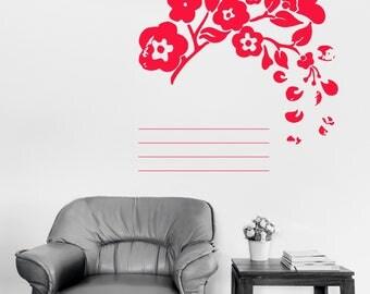 Wall Vinyl Decal Floral Ornament Work Schedule Styling Art Mural Decor (#2441dn)