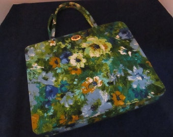 Vintage Margaret Smith of Maine Blue, Yellow, and Green Floral Handbag.