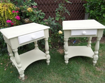 """Pair of Bedside Tables, French Pine Bedside Drawers, Hand Painted Versailles Chalk Paint,  24"""" x 20"""" x 15.25"""", *Free UK Delivery*"""