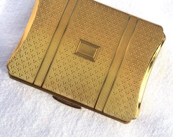 KIGU Powder Compact, Gold Plated Suitcase, Blank Cartouche Ready for Monogram, Loose Powder Compact, Sifter & Puff, Excellent Condition