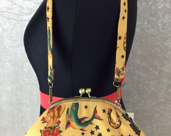 Tattoo Grace handbag clutch purse shoulder bag Alexander Henry handmade in England