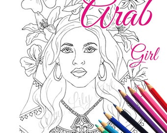 Arab Girl Coloring Page and Digital Stamp | Arabian Woman with Hamsa Hand Necklace