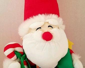 Nylon Parachute Santa Christmas Doll Holiday Decor Puffalump Style 1990s Soft Plush Santa Doll