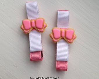 Cookies | Pink Bow | Hair Clips for Girls | Toddler Barrette | Kids Hair Accessories | Grosgrain Ribbon | Flatback | No Slip Grip