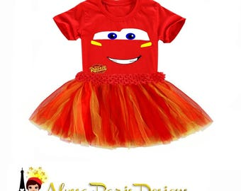 Lightning McQueen Cars Inspired Tutu SET - Mc Queen Disney Pixar Cas- Red tutu or Red and yellow or any color tutu