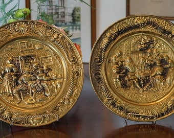 Set of 2 Vintage Brass Plaques/ Domestic Scenes