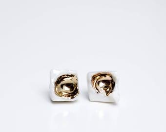 White And Gold Earrings, Bridal Earrings, Earrings Handmade, Earrings Studs, Stud Earrings, Square Earrings, Cube Earrings, Gift For Her