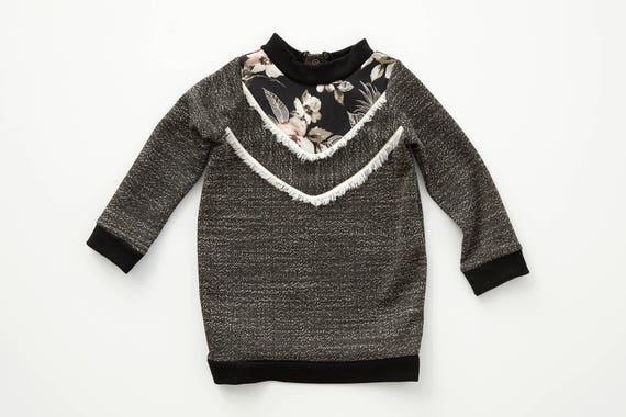 BRUNELLE - long sleeve sweater, jersey or pullover for kids: boys or girls - textured grey knit (reef)