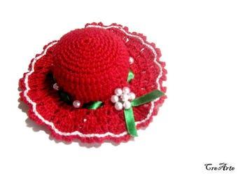 Red Crochet Pincushion, Handmade Pincushion, Sewing accessories, Puntaspilli rosso