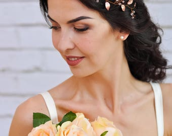 Rose gold wedding hair accessories Wedding headpiece Rose gold wedding hair piece Rose gold tiara Wedding headband crystal Bridal headband
