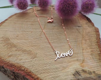 Necklace Love, choker necklace love, silver, rose gold, romantic, valentine