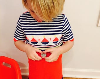 Toddler Boys Sailboat and Anchor One-Piece