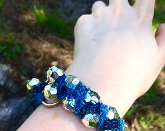 Yarn Wrapped Throw-Bead Bracelet