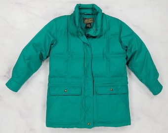 Vintage 90s Eddie Bauer GOOSE DOWN Green Puffer Coat Jacket, Womens Small Petite