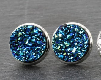 Blue Druzy stud earrings, Bleu druzy earrings, faux druzy earrings, Blue sparkly earrings, druzy post earring,  Blue druzy studs, Canada