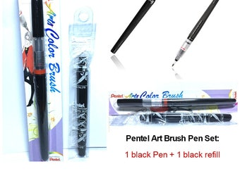 Black Pen and Refill Set: Pentel Arts Color Brush