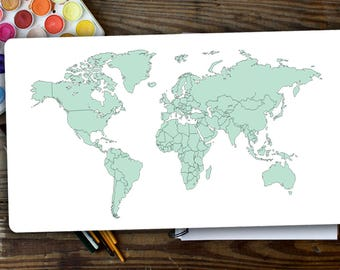 World Map Planner Sticker to Track your Trip in Light Mint Color