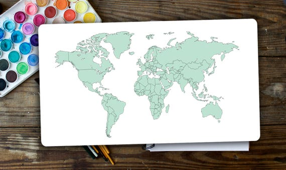 World map planner sticker to track your trip in light mint like this item gumiabroncs Image collections