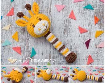 Giraffe rattle Crochet rattle Baby rattle toy Cotton crochet toy Baby gift Organic teether Baby Shower gift Baby teething toy Newborn gift