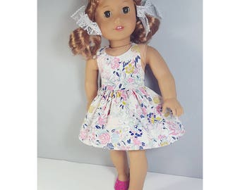 18 inch doll clothes -pastel floral halter dress