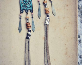 Ethnic Tribal Earrings Gipsy Hippie Bohemian Nomade Native Leather Coconut Beads