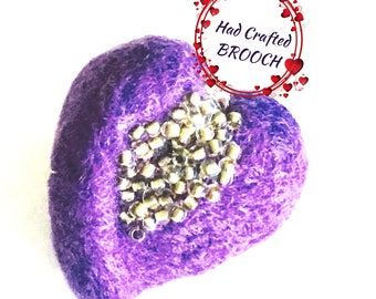 Purple Valentine Heart Brooch, Hand Felted Brooch, Beaded Heart Jewellery, Hand Beaded Brooch, Felted Heart, Stylish Gift, Valentine Gift