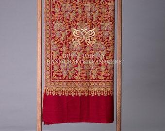 Kashmir Shawl Sozni Jamawar Floral Motif Marron