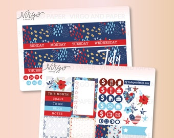 July 2017 Monthly Cover -  July Monthly Sticker Kit - July Monthly Cover Glossy/Matte Stickers 1707