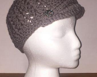 Crochet Textured Newsboy Hat, Brim Hat, Newsboy Hat With Button and Strap, Handmade Newsboy Hat