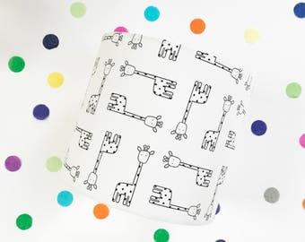 Black and white giraffe print lampshade for nursery , children's room, play room.