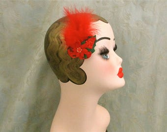 Red feathered fascinator,christmas hair grip,red fascinator,1920s flapper girl style,butterfly hair grip,Gatsby wedding hair grip,burlesque