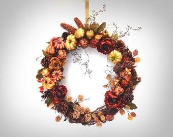 Gourd Wreath Autumn Wreath Fall Wreath Rustic Cabin Wreath Fireplace Wreath Cabin Decor Earth Tone Decor Rustic Wreath Mountain House Decor
