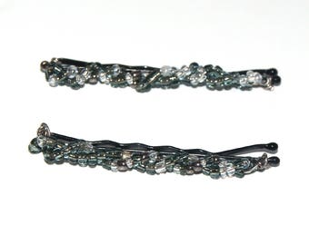 Gray Hair Pins - Beaded Hair Accessories for Girls - Beaded Bobby Pins - Beaded Jewelry Barrette - Bobby Pins for Flower Girls