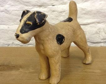 Vintage Plaster / Chalkware Wire Haired Terrier Dog Figurine. Kitsch Mid Century Figure.