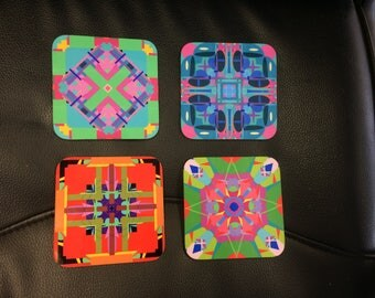 Psychedelic Coasters - Singles or Sets - Kaleidoscope, Groovy, Retro - Wooden Coaster