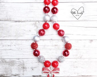 Bow, Christmas Bow, Bow Necklace, Christmas Necklace, Christmas, Christmas Bubblegum Necklace, Chunky Necklace, Bubblegum Necklace