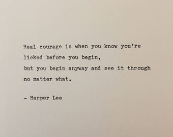 Harper Lee quote hand typed on antique typewriter